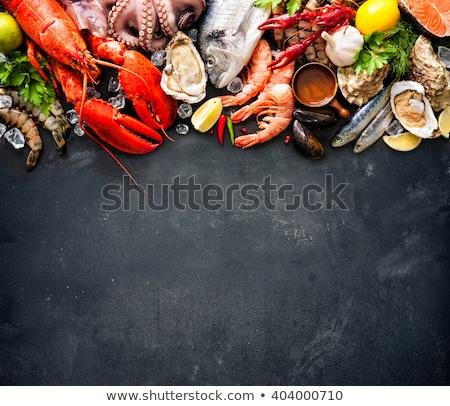 Friss tengeri hal hal egyezség tenger citrom Stock fotó © mirc3a