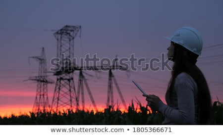 электрических · закат · области · власти · towers · красный - Сток-фото © kaycee