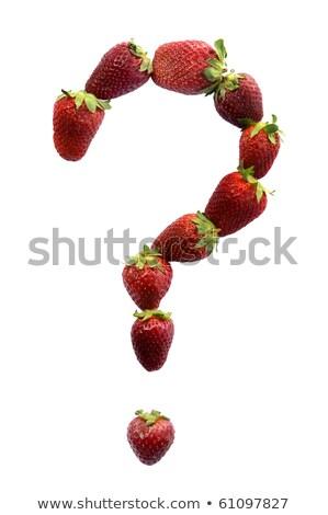 вопросительный знак клубники белый сердце фрукты знак Сток-фото © vankad