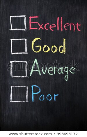 Customer survey or poll of four levels with check boxes on smudged blackboard background stock photo © bbbar