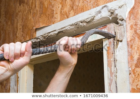 Timmerman deuropening huis man hout werk Stockfoto © photography33