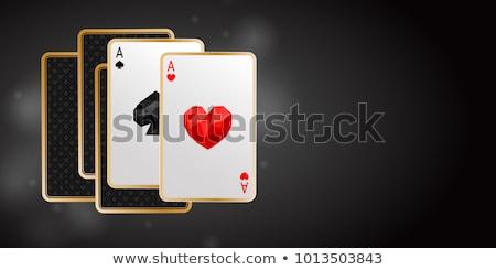Stock fotó: Kettő · bannerek · fekete · póker · kártya · textúra