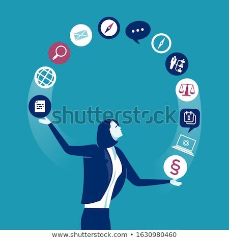Acrobaat business zakenvrouw positie geïsoleerd witte Stockfoto © tiero