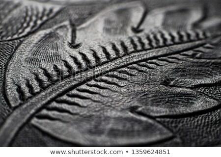 Virágmintás gravírozott bőr kép sötét barna Stock fotó © gregory21