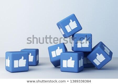 3D · Blauw · sociale · kubus · communicatie - stockfoto © marinini