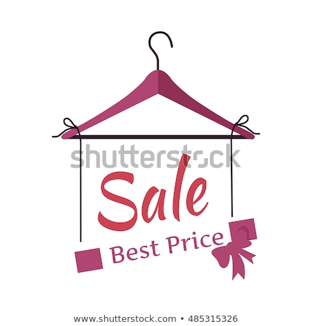 Wooden coat hanger and sale tag illustration in violet Stock photo © experimental