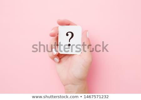 kéz · magasra · tart · kérdőjel · felső · női · fehér - stock fotó © stryjek