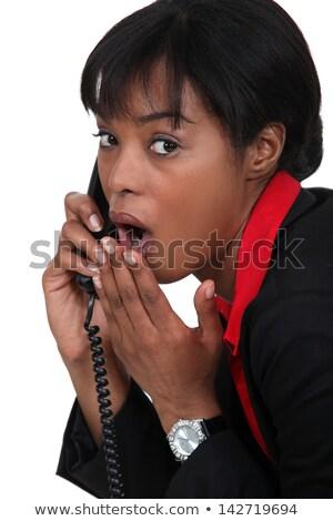 Nero imprenditrice telefono scioccato sensazionale news Foto d'archivio © photography33
