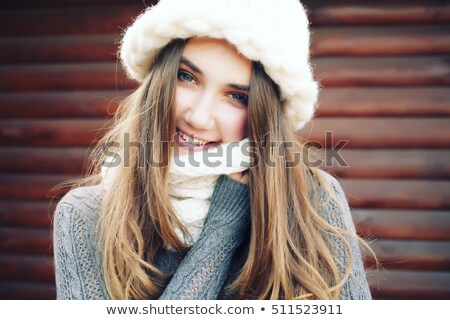 Fresh Woman Face in White Knitted Cap - Winter Style Stock photo © gromovataya