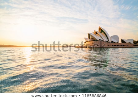 Sydney kikötő híd Sydney Operaház naplemente sziluett Stock fotó © SophieJames