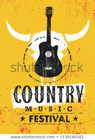 land · muziek · spotlight · gitaar · laarzen · hoed - stockfoto © gordo25