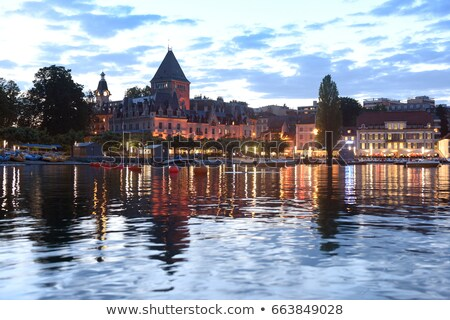 Ouchy port and Chateau, Lausanne, Switzerland Stock photo © dacasdo