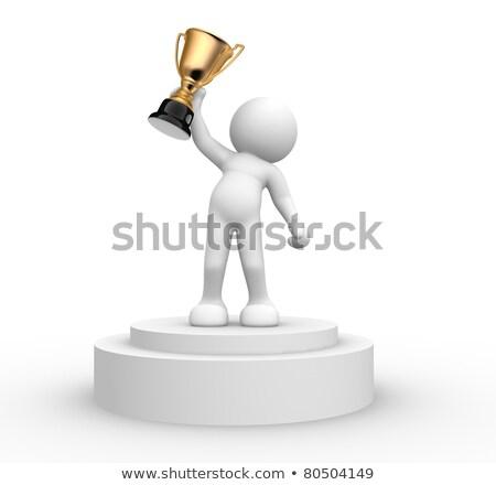 3次元の人々 勝者 表彰台 白 手 デザイン ストックフォト © Quka