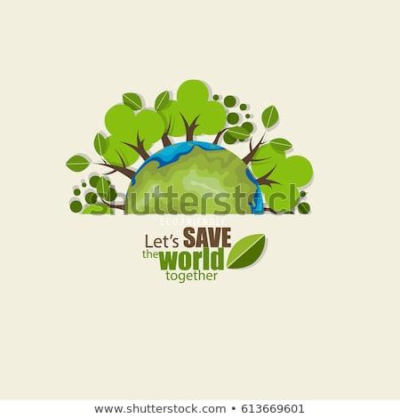 Ecologie groene planeet vector poster vrouw Stockfoto © krabata