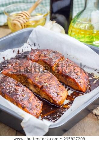 forel · filet · geserveerd · sla · tomaat · voedsel - stockfoto © tab62