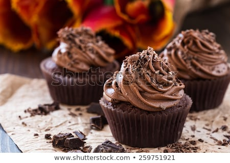 chocolate cupcake decorated with flowers Stock photo © marimorena