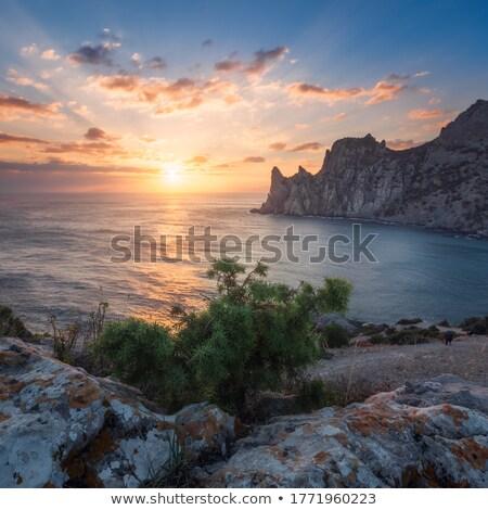 Gergedan kaya gökyüzü doğa ışık seyahat Stok fotoğraf © mike_expert