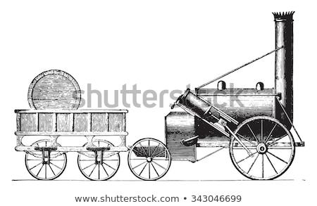 buhar · tren · siyah · beyaz · duman · bağbozumu · motor - stok fotoğraf © snapshot