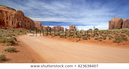 Estrada de terra vale natureza paisagem azul rocha Foto stock © snyfer