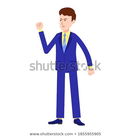 Woedend zakenman vuist portret Stockfoto © smithore