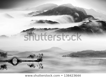 Przeciwmgielne czarno białe góry panorama krajobraz ziemi Zdjęcia stock © lunamarina