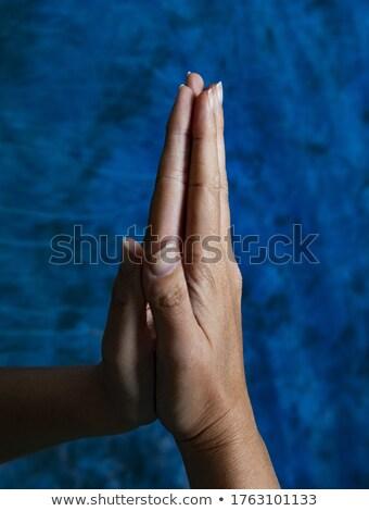 Namaste imádkozik férfi kék stúdió portré Stock fotó © stepstock