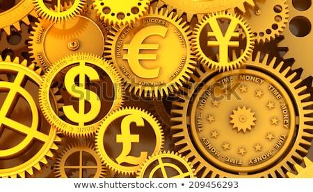 Euro assinar metal engrenagem dinheiro abstrato Foto stock © cherezoff