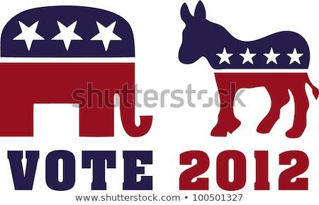 szavazás · republikánus · elefánt · demokrata · szamár · illusztráció - stock fotó © redkoala