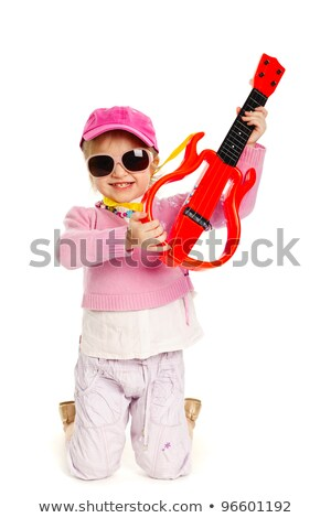 little blond girl playing electric guitar hardcore Stock photo © lunamarina