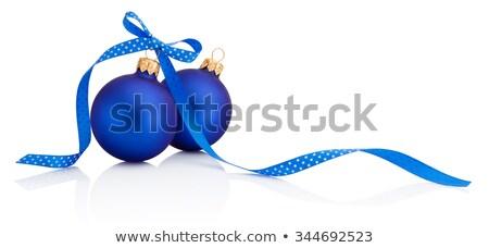 Kettő kék karácsony golyók konzerv használt Stock fotó © alekleks