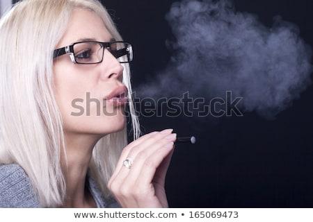 vrouw · roken · zwarte · vrouw · zwarte · vrouwen · schoonheid - stockfoto © stryjek