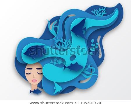 jonge · vrouw · zee · mooie · rotsen · vrouw · water - stockfoto © clearviewstock