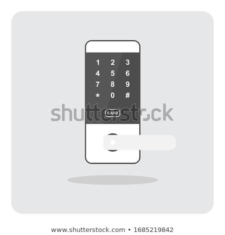 Foto stock: Chave · hotel · porta · trancar · isolado · branco