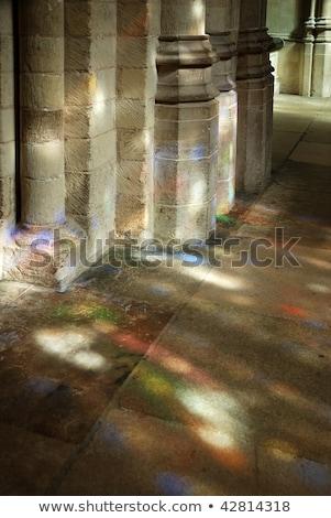 Kirche Korridor Glasmalerei Fenster Muster Glas Stock foto © ifeelstock