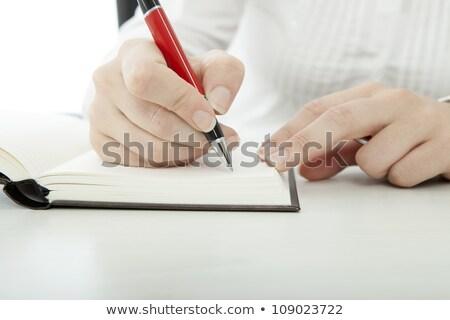 小さな ブルネット 女性実業家 眼鏡 書く 文字 ストックフォト © sebastiangauert