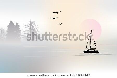 Black Boat on the Beach stock photo © faabi