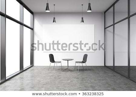 interieur · stoelen · twee · moderne · Rood · witte - stockfoto © cherezoff