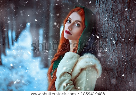 Person wearing red cloak in a forest. Stock photo © Nejron