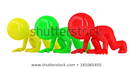 Stock photo: 3D people at starting line. Isolated. Contains clipping path