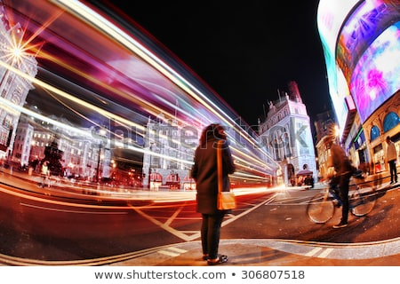 Fast moving cars at streets of London at night Stock photo © Nejron