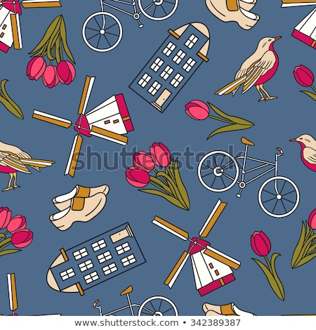 Sketch Holand windmill, vector seamless pattern stock photo © kali