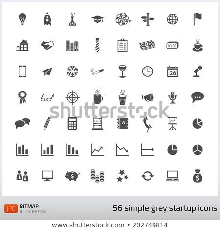 Foto stock: Establecer · inicio · iconos · estilo · simple · oficina