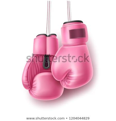 Rosa luvas de boxe par isolado branco Foto stock © JamiRae