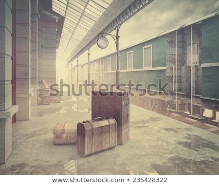 Vintage gare plate-forme chemin de fer nom plaque Photo stock © nelsonart