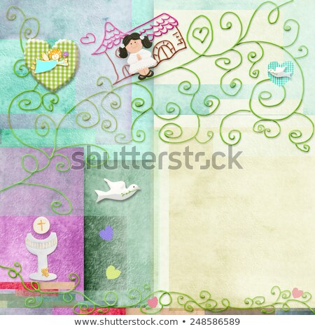 brown hair girl first holy communion card stock photo © marimorena