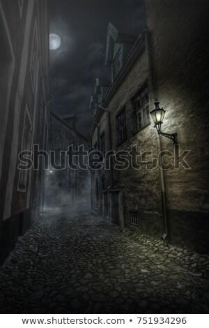 Città vecchia notte stilizzato senza soluzione di continuità orizzontale passeggiata Foto d'archivio © tracer