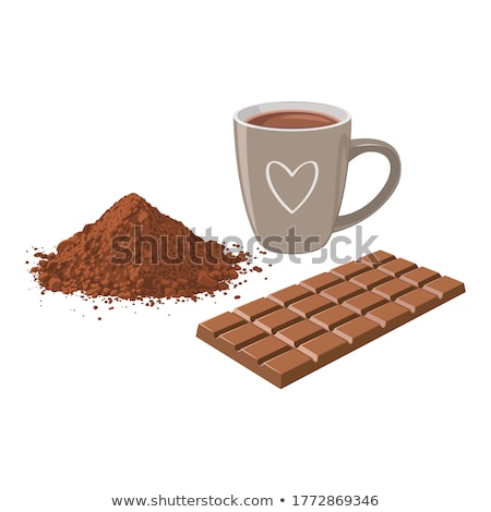 Stock photo: cappuccino with cocoa powder and beans on white