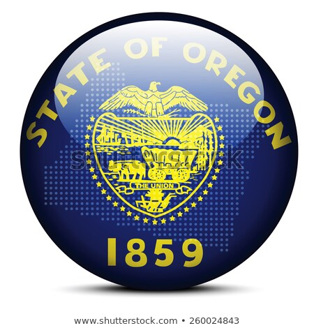 Map with Dot Pattern on flag button of USA Oregon State Stock photo © Istanbul2009