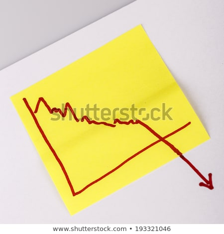 Stock fotó: Note Paper With Finance Business Graph Going Down - Loss
