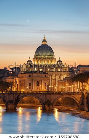 Róma · tetők · színes · naplemente · kilátás · város - stock fotó © joyr